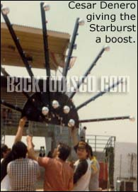 Cesar Denero giving the Pegasus Starburst a lift. Mobile DJ Pegasus was the prominent sound and lights system of the late 70s and early 80 in the  Los Angeles area.