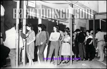 "Ginos 2 line at entrance of the club. Ginos II soon became the who's who of the local disco scene. To be one of the ""in"" crowd, you had to visit Gino's."